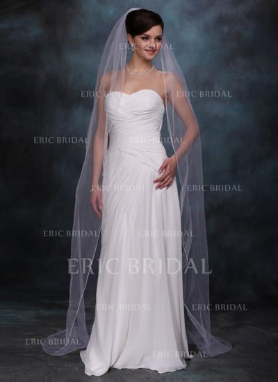 Chapel Bridal Veils Tulle One-tier Oval/Drop Veil With Pencil Edge Wedding Veils (006150943)
