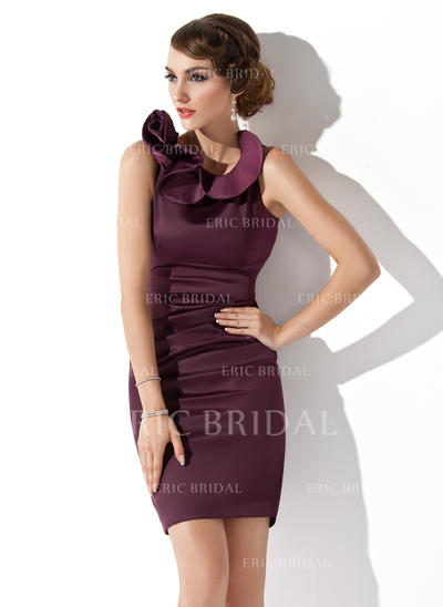 Sheath/Column Scoop Neck Short/Mini Mother of the Bride Dresses With Cascading Ruffles (008211337)