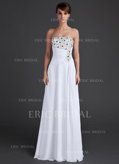 A-Line/Princess Strapless Floor-Length Evening Dresses With Ruffle Beading Sequins (017015609)