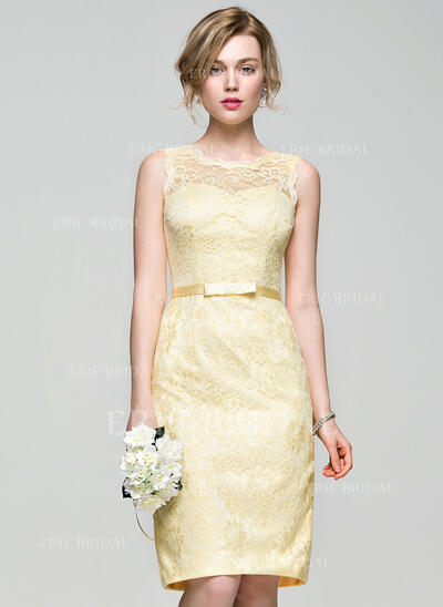 Sheath/Column Scoop Neck Knee-Length Lace Bridesmaid Dress With Bow(s) (007072809)