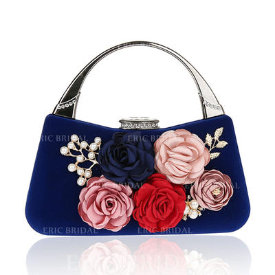 Clutches/Wristlets/Totes/Bridal Purse/Fashion Handbags/Makeup Bags/Luxury Clutches Wedding/Ceremony & Party/Casual & Shopping/Office & Career Velvet Snap Closure Elegant Clutches & Evening Bags (012187882)