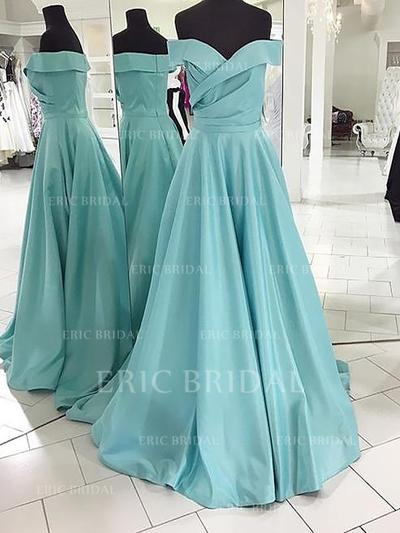 A-Line/Princess Satin Prom Dresses Off-the-Shoulder Sleeveless Sweep Train (018148472)