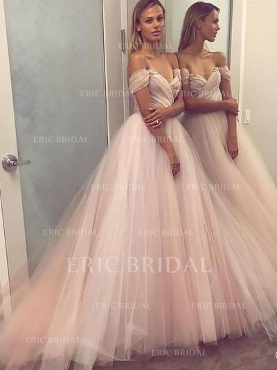 A-Line/Princess Tulle Prom Dresses Beading Sequins Off-the-Shoulder Sleeveless Floor-Length (018148426)