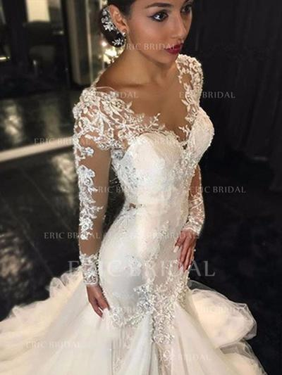 Trumpet/Mermaid V-neck Chapel Train Wedding Dresses (002144830)