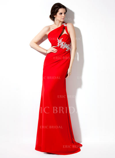 Sheath/Column One-Shoulder Sweep Train Evening Dresses With Ruffle Beading Appliques Lace Sequins (017002601)