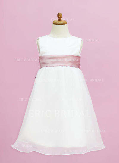 Glamorous Scoop Neck Empire Flower Girl Dresses Floor-length Organza/Satin Sleeveless (010005332)