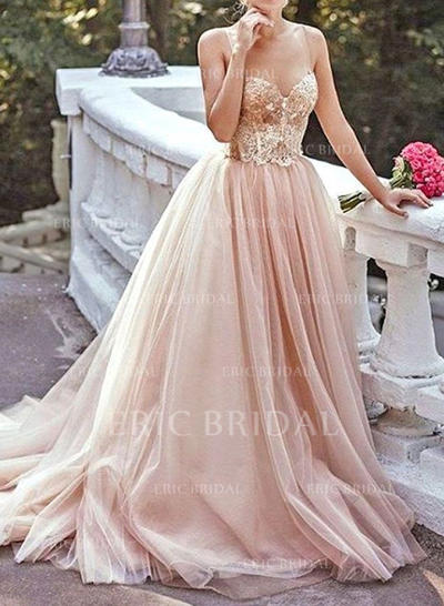A-Line/Princess Sweetheart Sweep Train Prom Dresses With Beading (018210378)