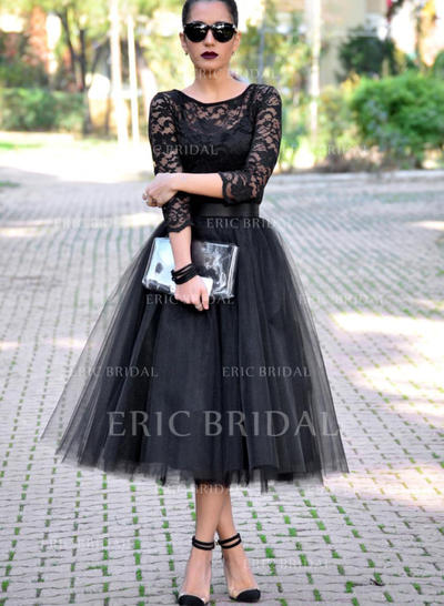 Newest Tulle Evening Dresses A-Line/Princess Tea-Length Scoop Neck 3/4 Sleeves (017196753)