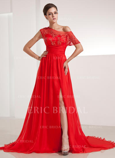 Luxurious Chiffon Evening Dresses A-Line/Princess Chapel Train Off-the-Shoulder Short Sleeves (017200480)