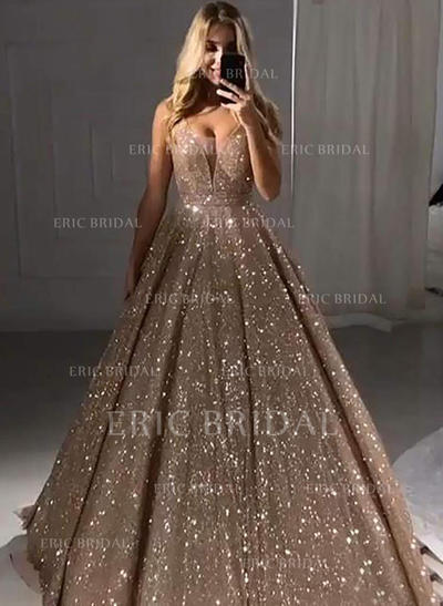 A-Line/Princess V-neck Floor-Length Prom Dresses (018219380)