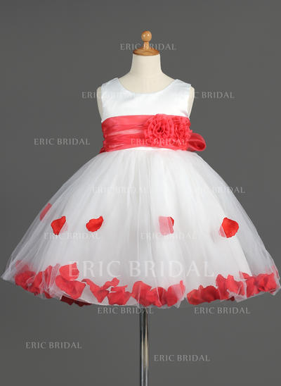 Empire Scoop Neck Knee-length With Sash/Flower(s)/Bow(s) Organza/Satin/Tulle Flower Girl Dresses (010014603)