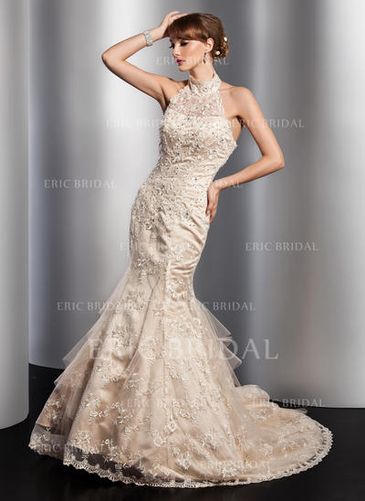 Modern Halter Trumpet/Mermaid Wedding Dresses Chapel Train Tulle Sleeveless (002196877)