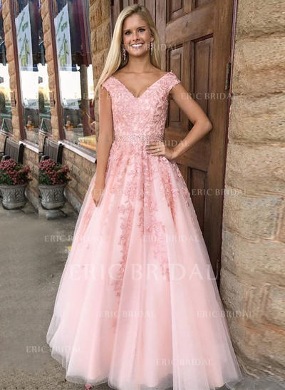 A-Line/Princess Tulle Prom Dresses Appliques Lace V-neck Sleeveless Floor-Length (018210259)
