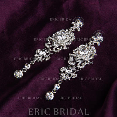Earrings Alloy/Rhinestones Rhinestone Pierced Ladies' Wedding & Party Jewelry (011167849)