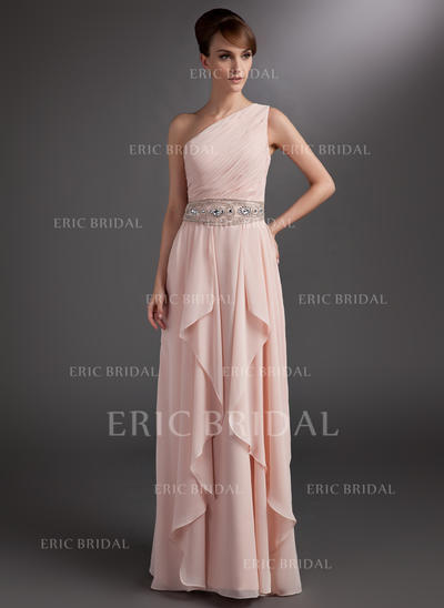A-Line/Princess Chiffon Sleeveless One-Shoulder Floor-Length Zipper Up at Side Mother of the Bride Dresses (008211217)