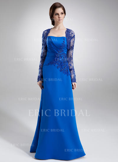 A-Line/Princess Strapless Floor-Length Satin Mother of the Bride Dresses With Ruffle Lace Beading (008002217)