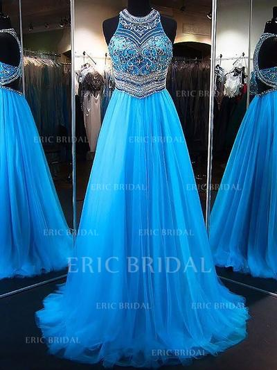 A-Line/Princess Tulle Prom Dresses Beading Appliques Lace Sequins Scoop Neck Sleeveless Sweep Train (018148416)