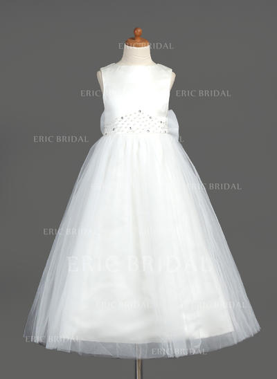Princess Scoop Neck A-Line/Princess Flower Girl Dresses Ankle-length Organza/Satin/Tulle Sleeveless (010005883)