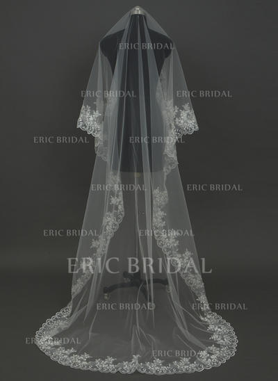 Cathedral Bridal Veils Tulle One-tier Drop Veil With Lace Applique Edge Wedding Veils (006151255)