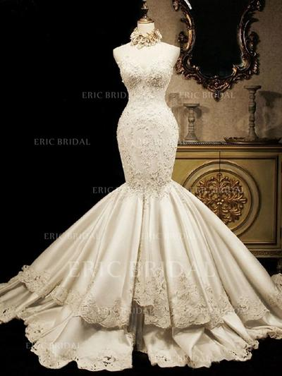 Trumpet/Mermaid Sweetheart Cathedral Train Wedding Dresses With Beading Appliques Lace Sequins (002147847)