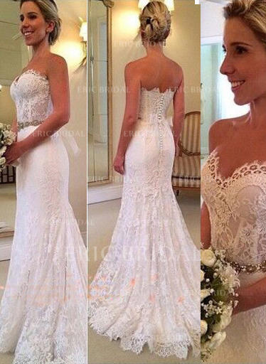 Trumpet/Mermaid Sweetheart Sweep Train Wedding Dresses With Beading (002146287)