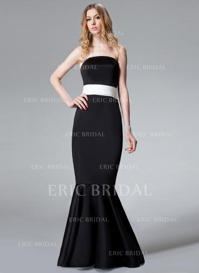 Trumpet/Mermaid Satin Bridesmaid Dresses Sash Bow(s) Strapless Sleeveless Sweep Train (007001773)