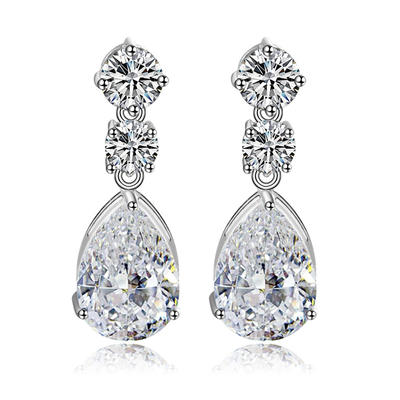 Earrings Copper/Zircon/Platinum Plated Pierced Ladies' Charming Wedding & Party Jewelry (011166669)