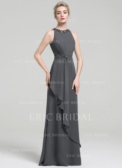 Empire Scoop Neck Floor-Length Evening Dress With Beading Sequins Cascading Ruffles (017093480)