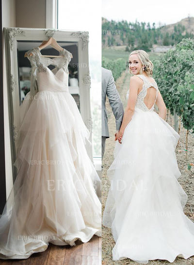 A-Line/Princess Sweetheart Sweep Train Wedding Dresses With Beading Sequins (002147992)