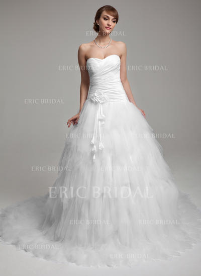 Ball-Gown Sweetheart Chapel Train Wedding Dresses With Ruffle Flower(s) (002196902)