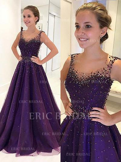A-Line/Princess Scoop Neck Floor-Length Prom Dresses With Beading (018210932)