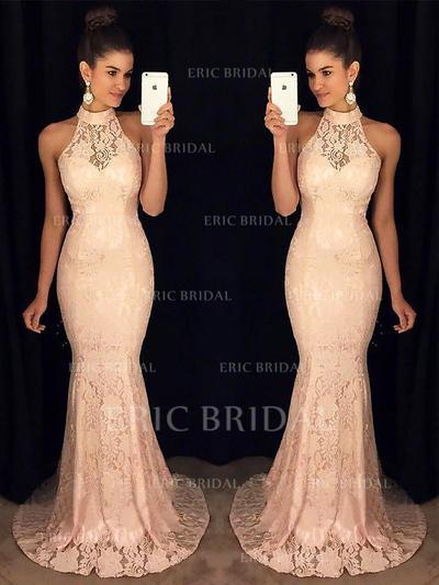 Trumpet/Mermaid High Neck Sweep Train Prom Dresses With Ruffle (018210931)