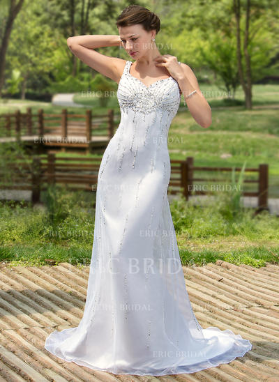 Trumpet/Mermaid Sweetheart Court Train Wedding Dresses With Beading Sequins (002000384)