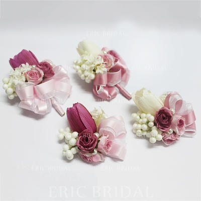 "Flower Sets Wedding/Party Artificial Silk/Imitation Pearl 3.54"" (Approx.9cm) Sold in set of two which includes one wrist corsage and one boutonniere Wedding Flowers (123189390)"