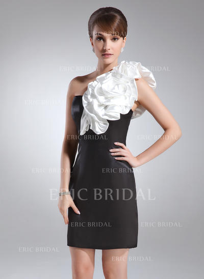 Sheath/Column One-Shoulder Short/Mini Charmeuse Cocktail Dresses With Sash Flower(s) (016008553)