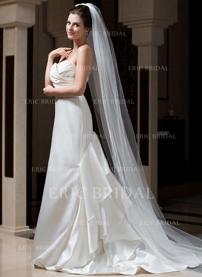 Cathedral Bridal Veils Tulle One-tier Drop Veil With Cut Edge Wedding Veils (006151075)