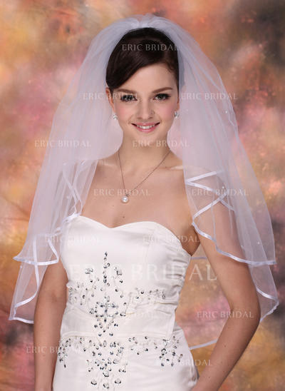 Elbow Bridal Veils Tulle Two-tier Classic/Cascade With Ribbon Edge Wedding Veils (006150901)