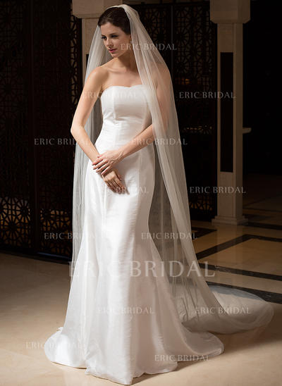 Cathedral Bridal Veils Tulle Two-tier Oval/Drop Veil With Cut Edge Wedding Veils (006151468)