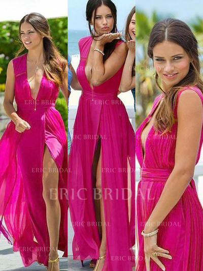 A-Line/Princess Chiffon Bridesmaid Dresses Ruffle V-neck Sleeveless Floor-Length (007211681)