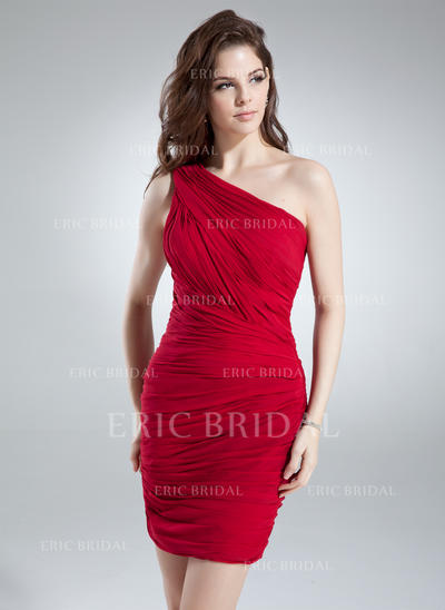 Sheath/Column One-Shoulder Short/Mini Chiffon Cocktail Dresses With Ruffle (016008800)