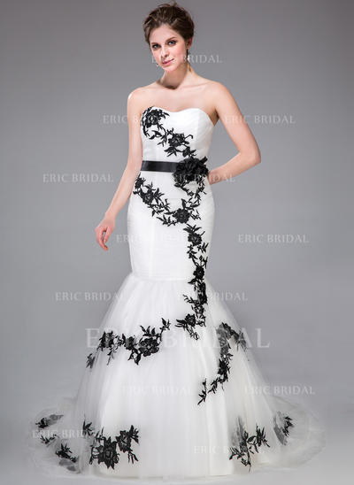 Trumpet/Mermaid Sweetheart Court Train Wedding Dresses With Sash Appliques Lace Flower(s) Bow(s) (002210506)