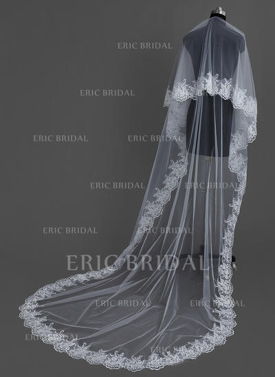 Cathedral Bridal Veils Tulle One-tier Oval/Drop Veil With Lace Applique Edge Wedding Veils (006151047)