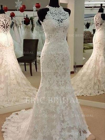 Scoop Trumpet/Mermaid Wedding Dresses Tulle Appliques Lace Sleeveless Sweep Train (002213564)