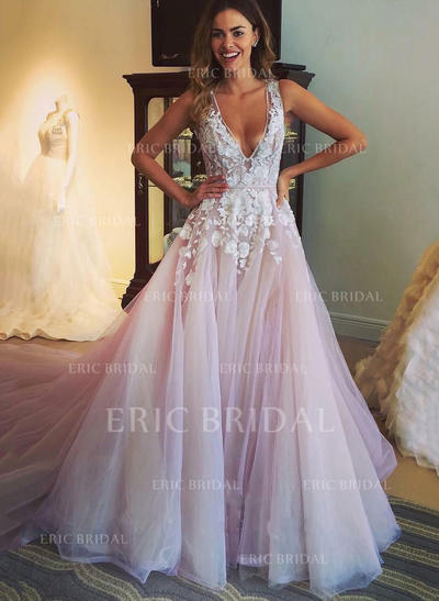 A-Line/Princess Deep V Neck V Chapel Train Prom Dresses With Appliques (018210928)