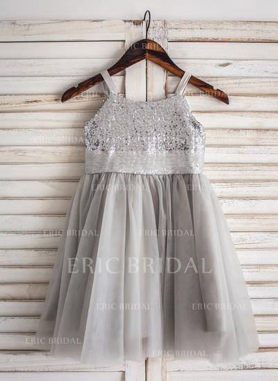 Gorgeous Straps A-Line/Princess Flower Girl Dresses Knee-length Tulle/Sequined Sleeveless (010210141)