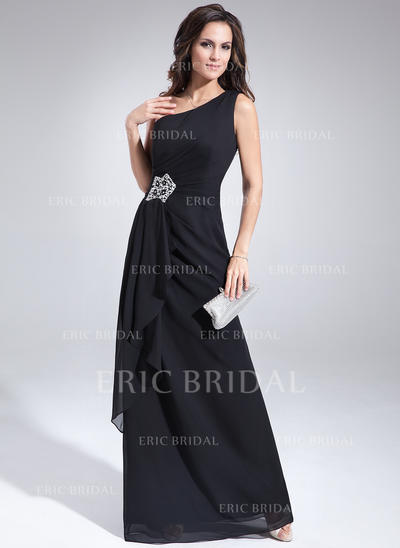 A-Line/Princess Chiffon Sleeveless One-Shoulder Floor-Length Zipper Up at Side Mother of the Bride Dresses (008211498)