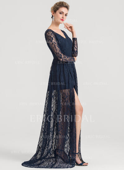 A-Line/Princess V-neck Sweep Train Lace Evening Dress With Split Front (017147940)