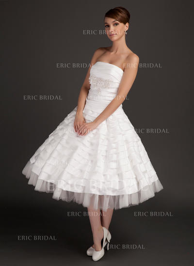 Stunning Strapless A-Line/Princess Wedding Dresses Tea-Length Taffeta Sleeveless (002196894)