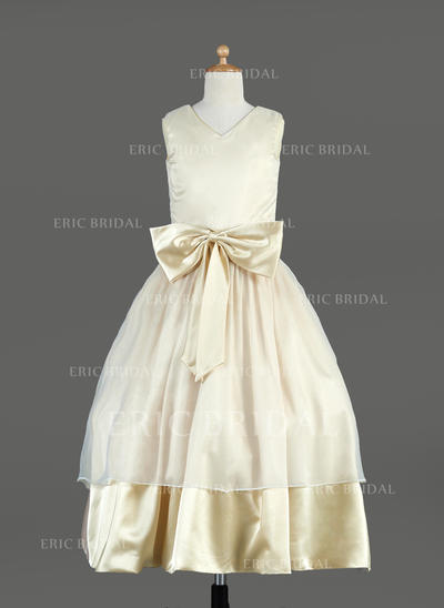 Beautiful V-neck Ball Gown Flower Girl Dresses Tea-length Organza/Charmeuse Sleeveless (010014636)