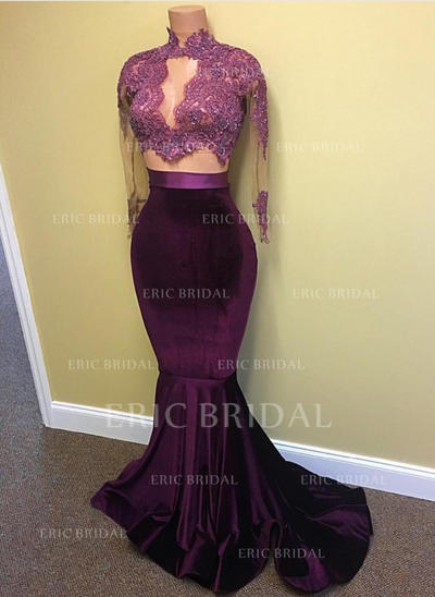 Trumpet/Mermaid High Neck Sweep Train Evening Dresses With Lace Beading Sequins (017145402)